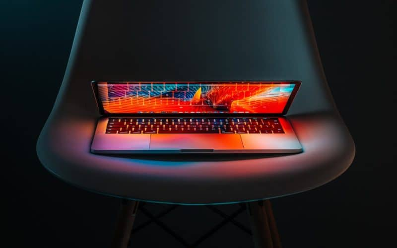 Laptop on Chair